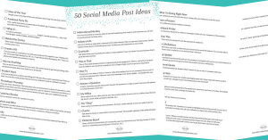 Downloadable: 50 Social Media Post Ideas
