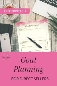 Goal Planning for direct sellers. Free printable.