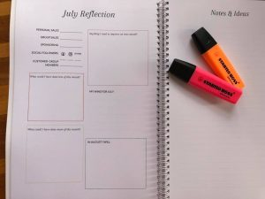 Reflections page in the direct sales planner